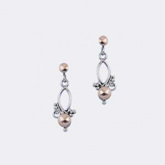 Image sur Boucles d'oreilles pendantes en argent 925 et or de la Collection L'Aventurine