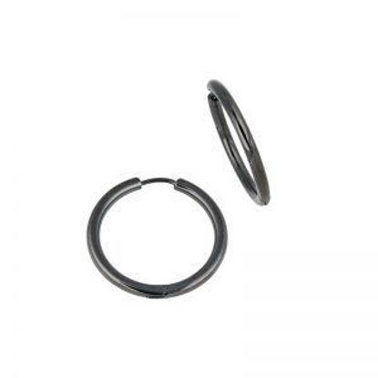 Image de Boucles d'oreilles en acier inoxydable noir de la Collection L'Aventurine