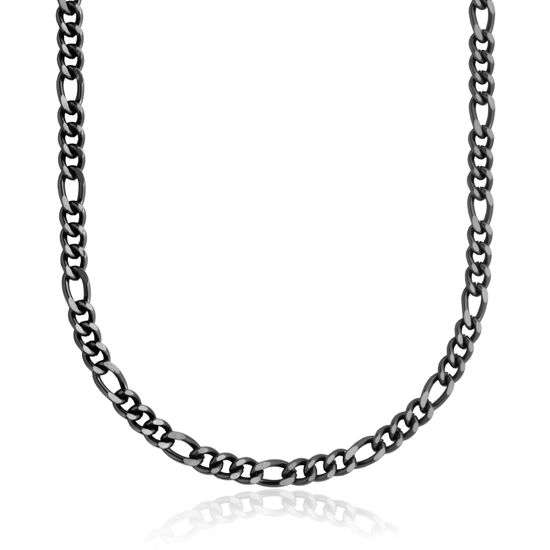Image sur Chaîne Figaro en acier inoxydable noir de la Collection Steelx