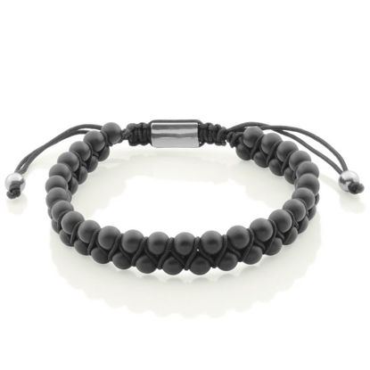 Image de Bracelet double rangs en billes d'agate noir de la Collection Steelx