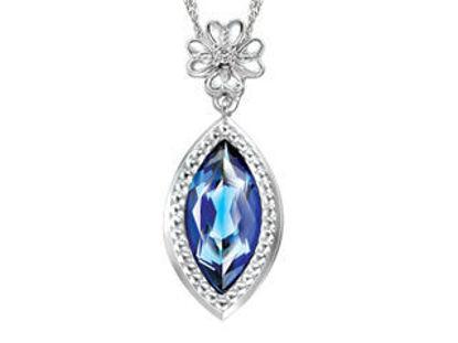 Image de Collier en or blanc avec diamant et topaze bleu