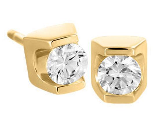 Image sur Boucles d'oreilles en or jaune avec diamant