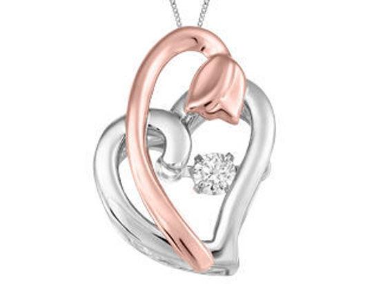 Image sur Collier coeur et tulipe en or blanc et rose avec diamant dansant