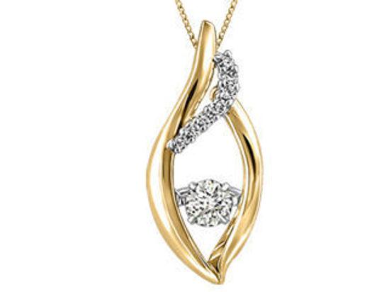 Image sur Collier en or jaune et blanc avec diamant dansant