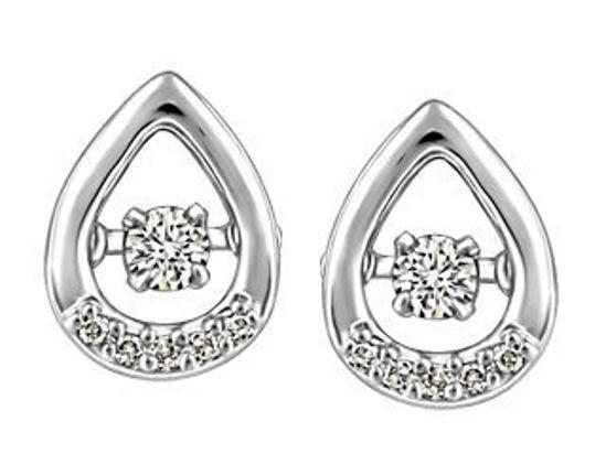Image sur Boucles d'oreilles en or blanc avec diamants dansants