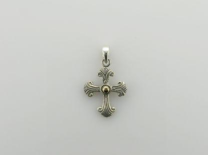 Image de Pendentif croix en argent 925 et or