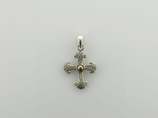 Image sur Pendentif croix en argent 925 et or