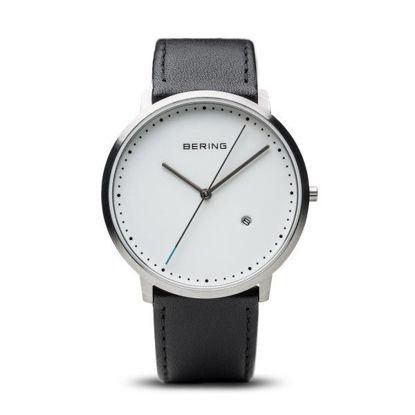 Image de Montre avec bracelet de cuir noir de la Collection Bering