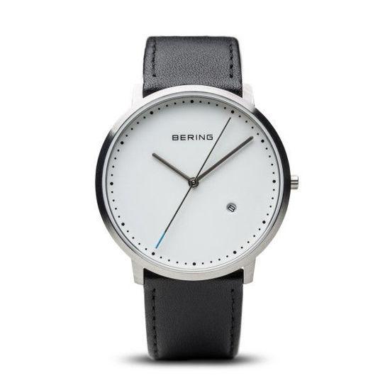Image sur Montre avec bracelet de cuir noir de la Collection Bering
