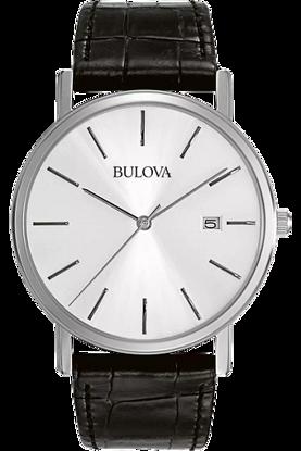 Image de Montre avec bracelet de cuir noir de la Collection Bulova