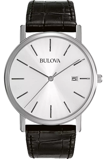 Image sur Montre avec bracelet de cuir noir de la Collection Bulova