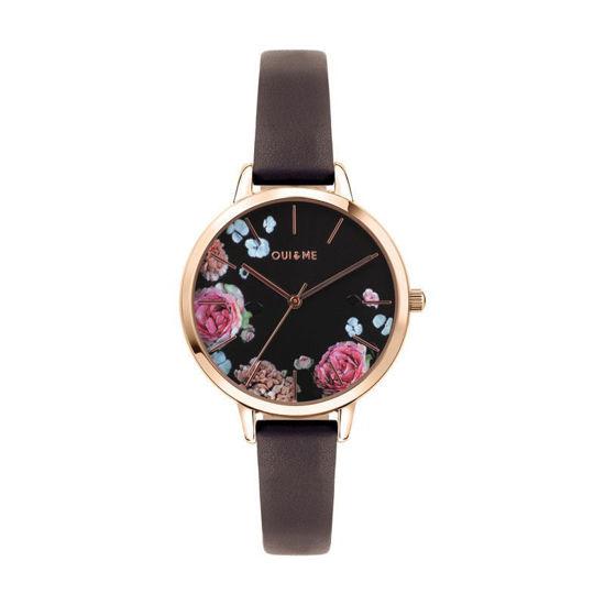 Image sur Montre noire avec fleurs de la Collection Oui & Me