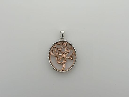 Image sur Pendentif arbre de vie en or blanc et rose 10KT