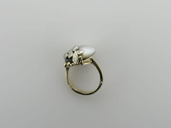 Image sur Bague exclusive en or jaune et blanc 10KT avec perle noire de Tahiti