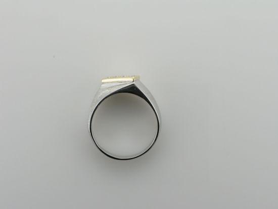 Image sur Bague exclusive en or blanc et jaune 10KT avec 4 diamants