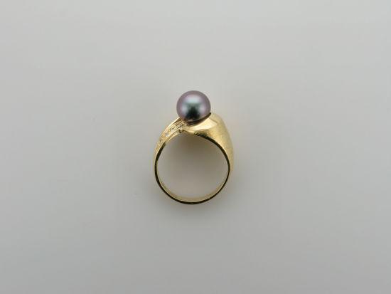 Image sur Bague exclusive en or jaune10KT avec perle noire de Tahiti
