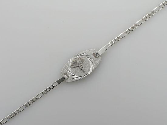 "Image sur Bracelet médical Figaro 7 1/2"" en or blanc"