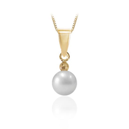Image sur Collier en or jaune avec perle