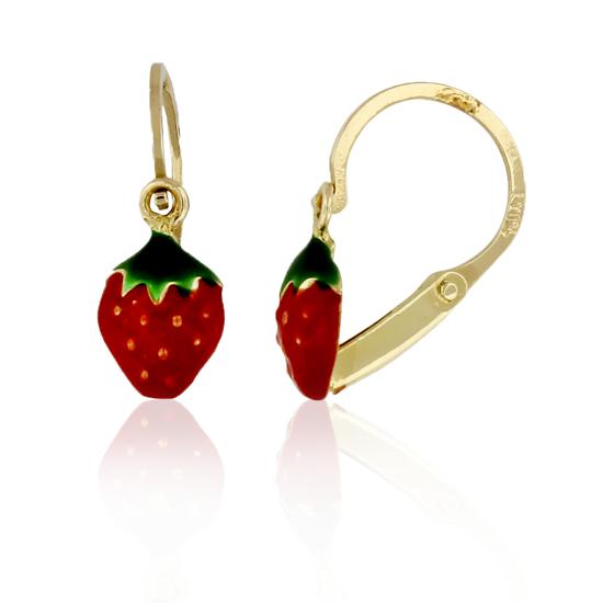 Image sur Boucles d'oreilles en or jaune avec fraise