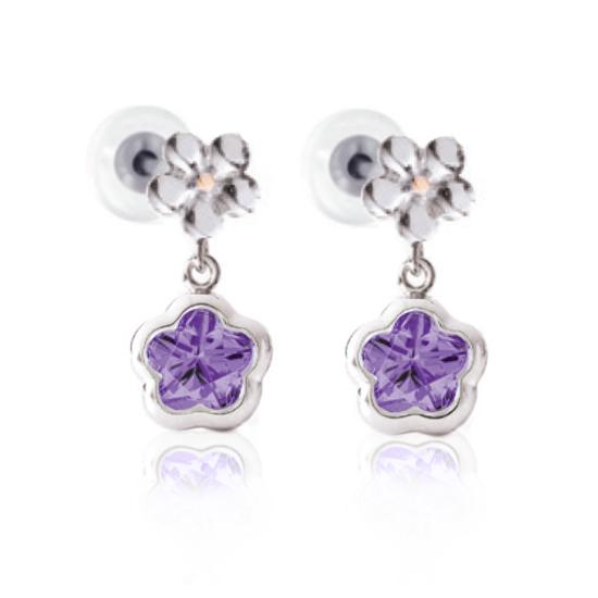 Image sur Boucles d'oreilles fleur mauve en argent 925