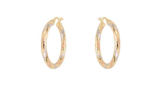 Image sur Boucles d'oreilles en or jaune, rose et blanc
