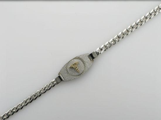 """Image sur Bracelet médical Gourmette 7 1/2"""" en acier inoxydable"""