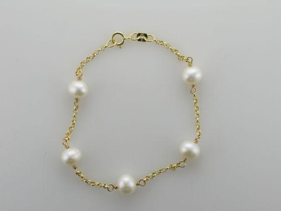"""Image sur Bracelet de perles d'eau douce 7"""" en or jaune"""