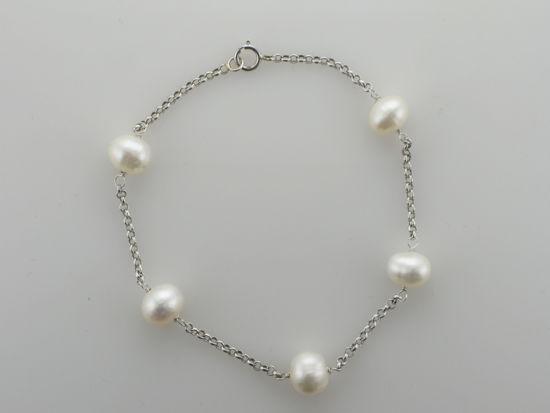 """Image sur Bracelet de perles d'eau douce 7 1/4"""" en or blanc"""