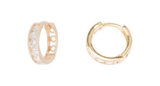Image sur Boucles d'oreilles en or rose avec zircons cubiques