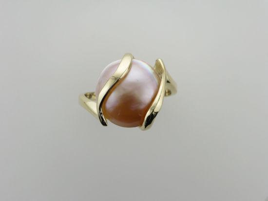 Image sur Bague en or jaune 10KT avec perle mabé
