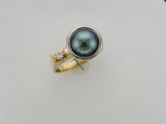 Image sur Bague en or jaune et blanc avec perle noire de Tahiti et diamant