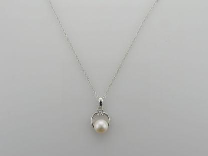 Image de Pendentif en or blanc avec perle d'eau douce et diamant