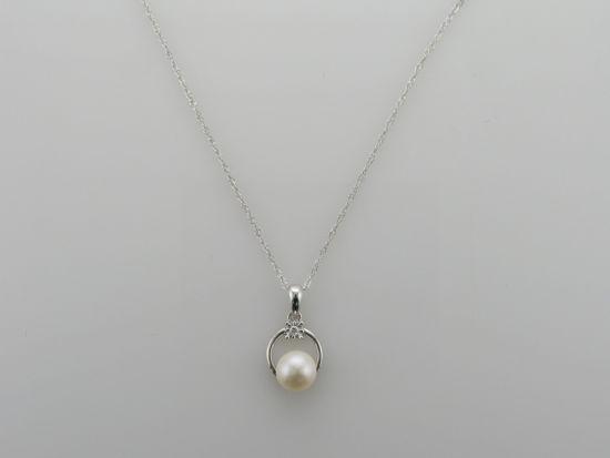 Image sur Pendentif en or blanc avec perle d'eau douce et diamant