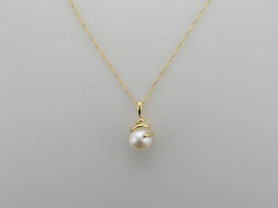 Image sur Pendentif en or jaune avec perle d'eau douce
