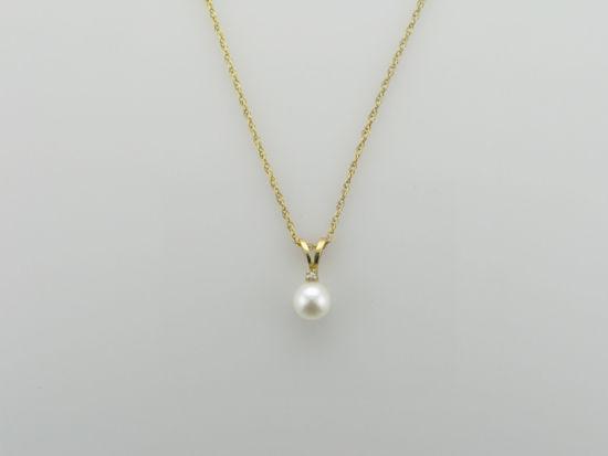 Image sur Pendentif en or jaune avec perle de culture et un diamant
