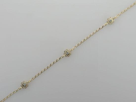 Image sur Bracelet fleurs en or jaune avec zircon cubique