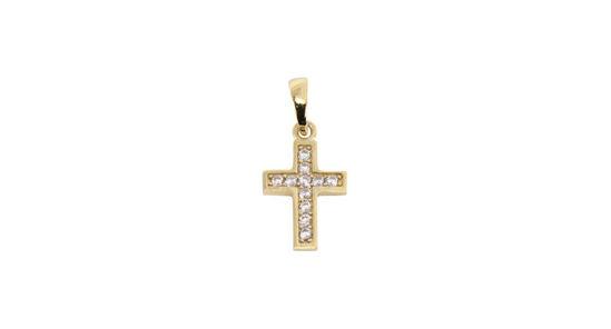 Image sur Pendentif croix en or jaune avec zircons cubiques