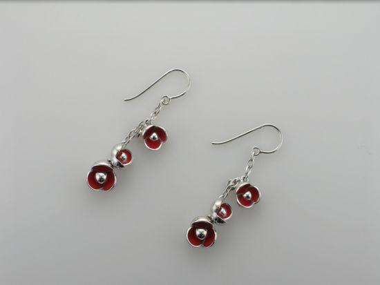 Image sur Boucles d'oreilles fleur rouge en argent 925