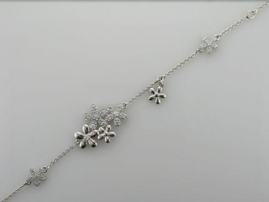 Image sur Bracelet fleurs en argent 925 avec zircons cubiques