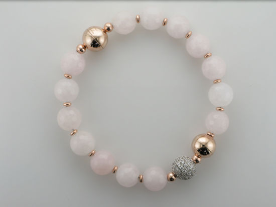 Image sur Bracelet en bronze recouvert d'or rose et quartz rose