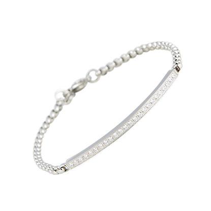 Image de Bracelet avec plaque et zircons cubiques en acier inoxydable de la Collection L'Aventurine